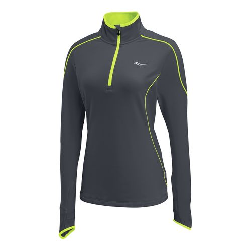 Womens Saucony Omni Drylete Sportop Long Sleeve 1/2 Zip Technical Tops - Carbon/Vizipro Citron ...