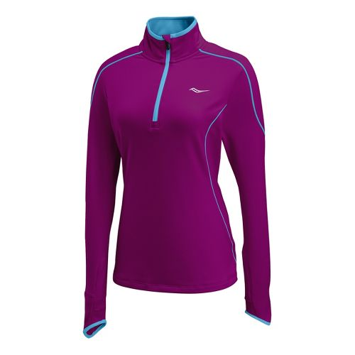Womens Saucony Omni Drylete Sportop Long Sleeve 1/2 Zip Technical Tops - Plum/Blue Fire L ...