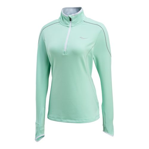 Womens Saucony Omni Drylete Sportop Long Sleeve 1/2 Zip Technical Tops - Sea Green/White XS ...