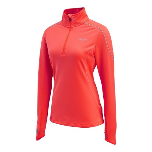 Womens Saucony Omni Drylete Sportop Long Sleeve 1/2 Zip Technical Tops - Vizipro Electric S ...