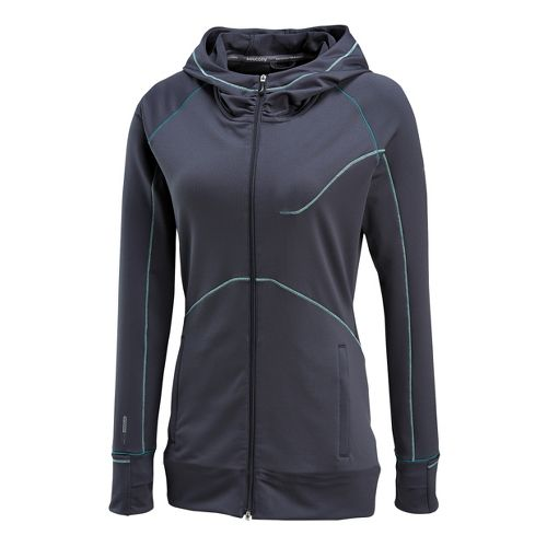 Womens Saucony Omni Full Zip Hoody Warm-Up Hooded Jackets - Carbon L