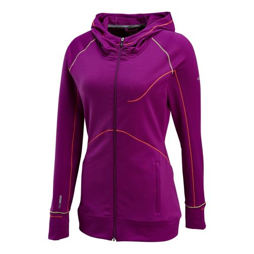 Womens Saucony Omni Full Zip Hoody Warm-Up Hooded Jackets - Plum L
