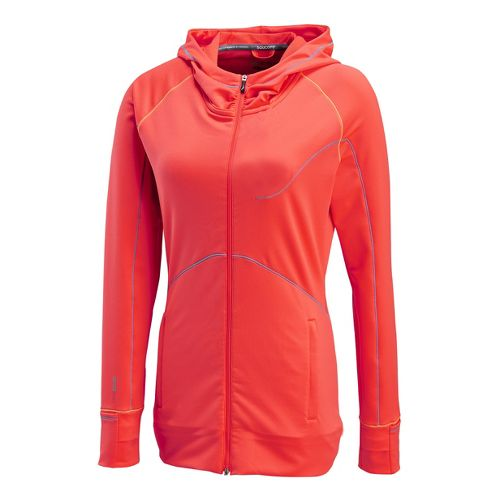 Womens Saucony Omni Full Zip Hoody Warm-Up Hooded Jackets - Vizipro Electric XL