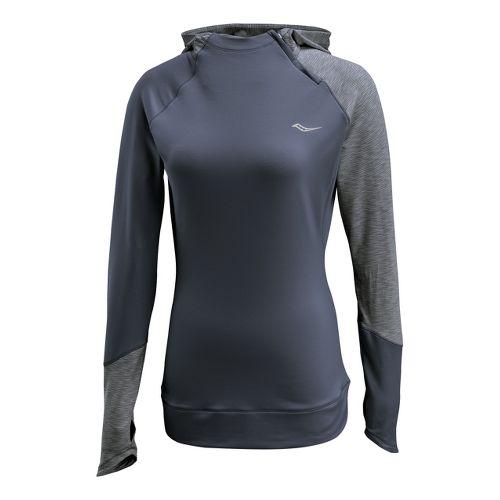 Womens Saucony Dash Hoody Long Sleeve 1/2 Zip Technical Tops - Carbon M