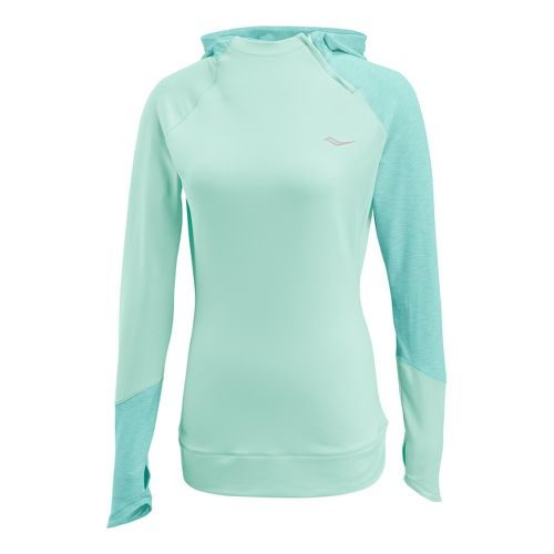Womens Saucony Dash Hoody Long Sleeve 1/2 Zip Technical Tops - Sea Green XL
