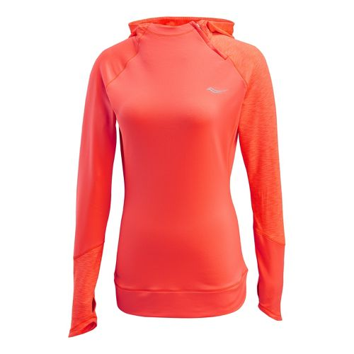 Womens Saucony Dash Hoody Long Sleeve 1/2 Zip Technical Tops - Vizipro Electric L