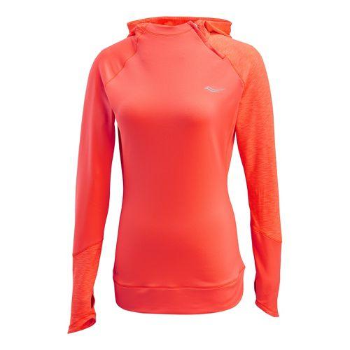 Womens Saucony Dash Hoody Long Sleeve 1/2 Zip Technical Tops - Vizipro Electric XL
