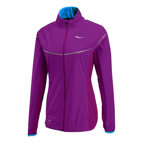 Womens Saucony Nomad Running Jackets - Plum/Blue Fire M