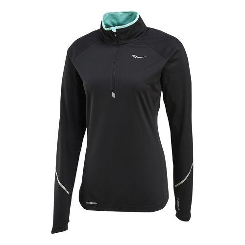 Womens Saucony Nomad Sportop Long Sleeve 1/2 Zip Technical Tops - Black S
