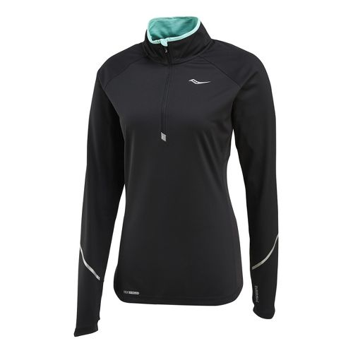 Womens Saucony Nomad Sportop Long Sleeve 1/2 Zip Technical Tops - Black XS