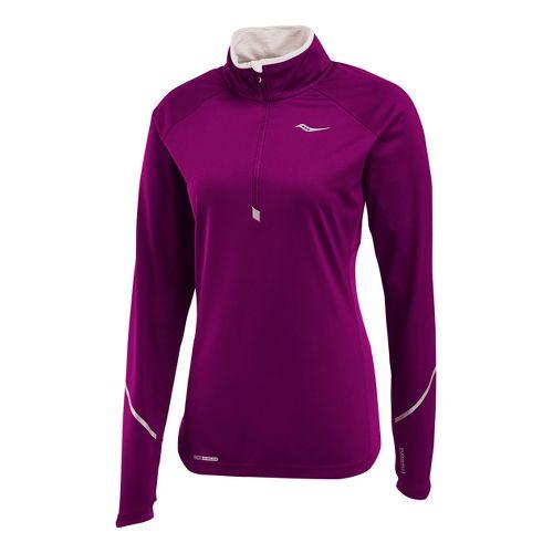 Womens Saucony Nomad Sportop Long Sleeve 1/2 Zip Technical Tops - Plum XS