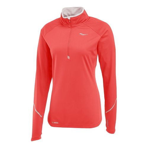 Womens Saucony Nomad Sportop Long Sleeve 1/2 Zip Technical Tops - Vizipro Electric XL