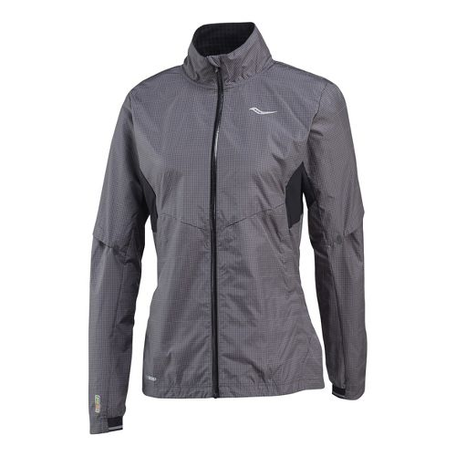 Womens Saucony Sonic Reflex Running Jackets - Carbon L