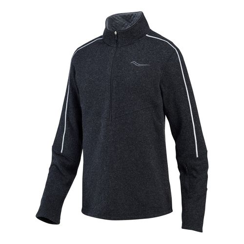 Mens Saucony Ridge Runner Sportop Long Sleeve 1/2 Zip Technical Tops - Black XXL