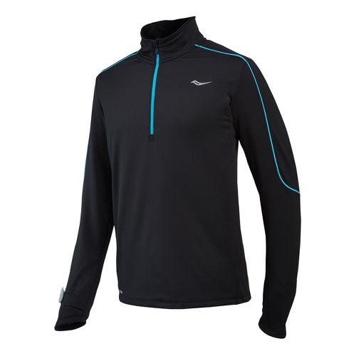 Mens Saucony Omni Drylete Sportop Long Sleeve 1/2 Zip Technical Tops - Black/Blue Fire S ...