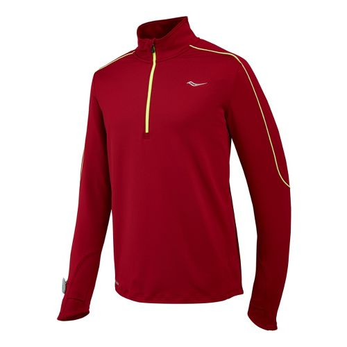 Mens Saucony Omni Drylete Sportop Long Sleeve 1/2 Zip Technical Tops - Crimson/Vizipro Citron M ...