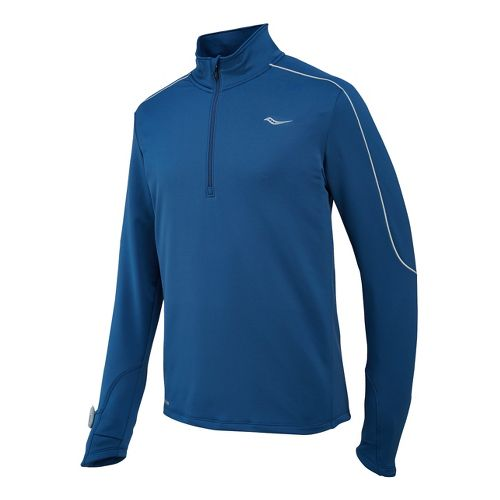 Mens Saucony Omni Drylete Sportop Long Sleeve 1/2 Zip Technical Tops - Tek Navy L ...