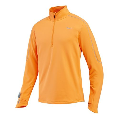 Mens Saucony Omni Drylete Sportop Long Sleeve 1/2 Zip Technical Tops - Vizipro Orange L ...