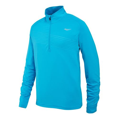 Mens Saucony Run Strong Sportop Long Sleeve 1/2 Zip Technical Tops - Blue Fire M ...