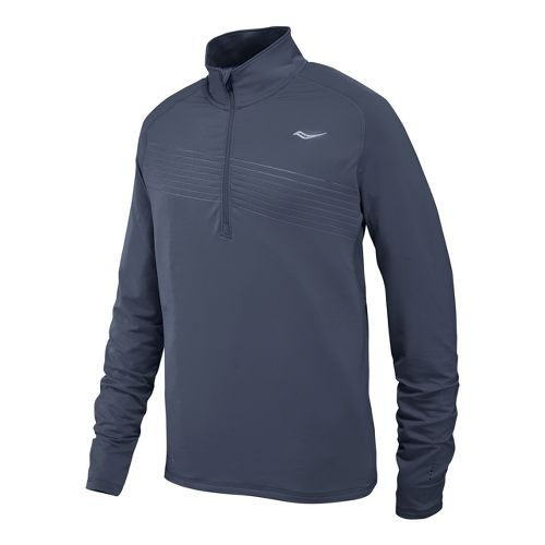 Mens Saucony Run Strong Sportop Long Sleeve 1/2 Zip Technical Tops - Carbon XL