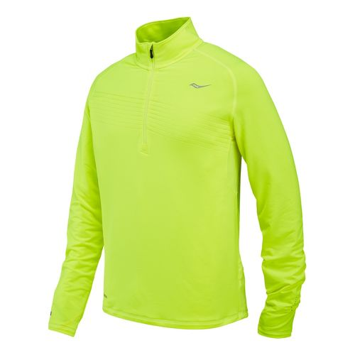Mens Saucony Run Strong Sportop Long Sleeve 1/2 Zip Technical Tops - Vizipro Citron L ...