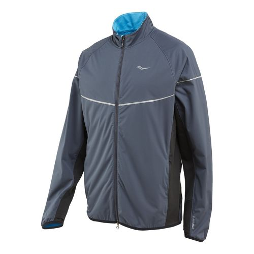 Mens Saucony Nomad Running Jackets - Carbon/Blue Fire S