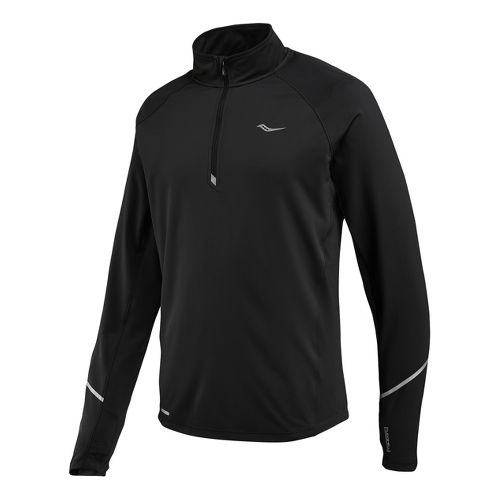 Mens Saucony Nomad Sportop Long Sleeve 1/2 Zip Technical Tops - Black XL