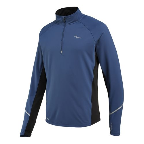 Mens Saucony Nomad Sportop Long Sleeve 1/2 Zip Technical Tops - Tek Navy S