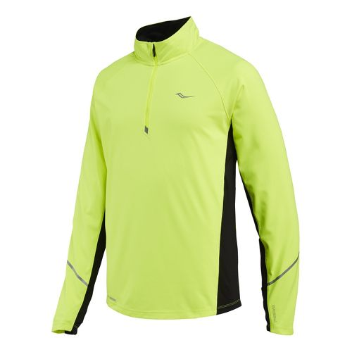 Mens Saucony Nomad Sportop Long Sleeve 1/2 Zip Technical Tops - Vizipro Citron/Black XXL