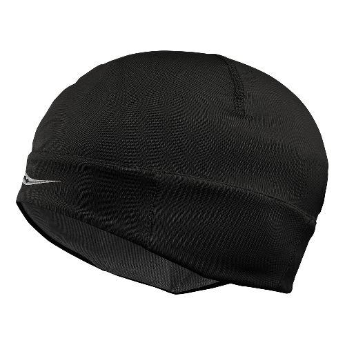 Womens Saucony Drylete Ponytail Skull Cap Headwear - Black