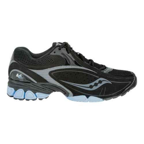 Womens Saucony Grid V2 Cross Training Shoe - Black/Light Blue 8.5