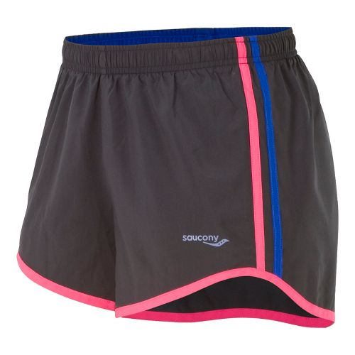 Womens Saucony P.E. Lined Shorts - Black/Berry Crush S
