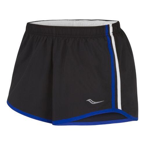 Womens Saucony P.E. Lined Shorts - Black/Cobalt L