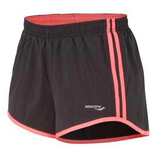 Womens Saucony P.E. Lined Shorts - Black/Vizipro Coral L