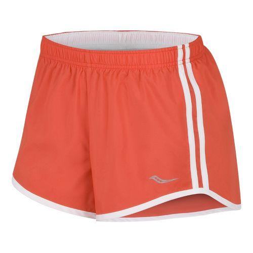 Womens Saucony P.E. Lined Shorts - Firecracker/White XS