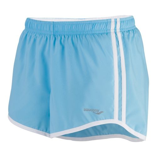 Womens Saucony P.E. Lined Shorts - Isis Blue/White S