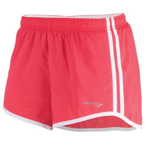 Womens Saucony P.E. Lined Shorts - Karma/White L