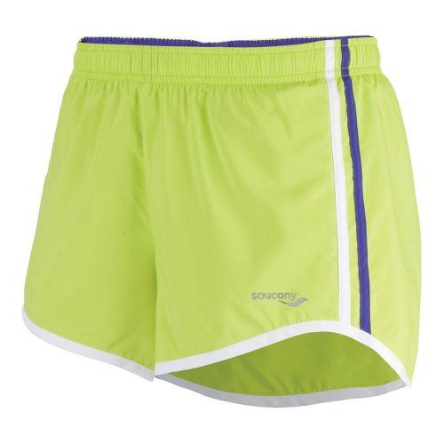 Womens Saucony P.E. Lined Shorts - Livewire/Spectra XL