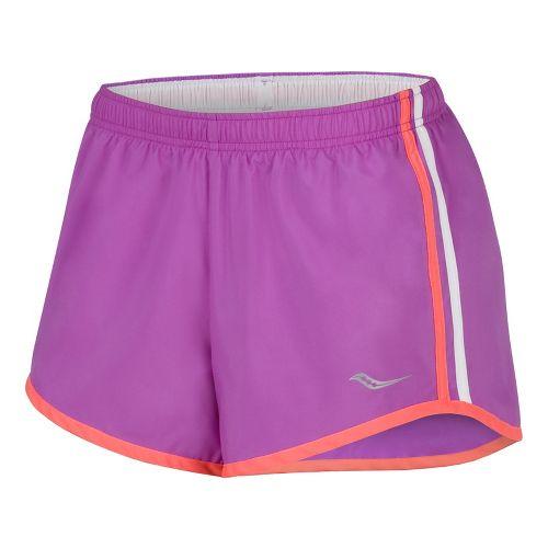 Womens Saucony P.E. Lined Shorts - Passion Purple/Vizipro Coral L