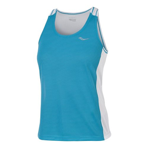 Womens Saucony Hydralite Tanks Technical Tops - Oceania/White XS