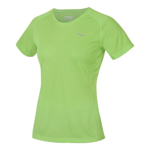 Womens Saucony Hydralite Short Sleeve Technical Tops - Acid Green XS