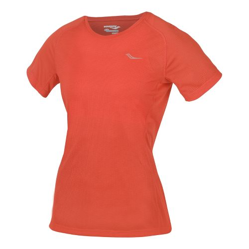 Womens Saucony Hydralite Short Sleeve Technical Tops - Firecracker S