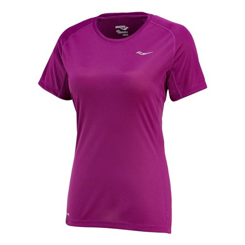 Womens Saucony Hydralite Short Sleeve Technical Tops - Plum L