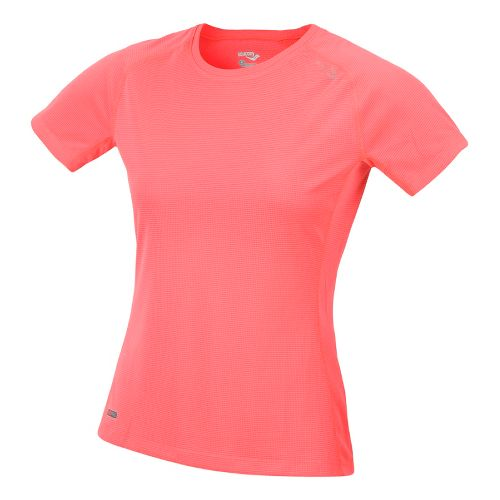 Womens Saucony Hydralite Short Sleeve Technical Tops - Vizipro Coral L