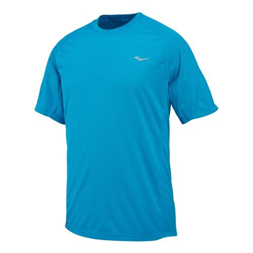 Mens Saucony Hydralite Short Sleeve Short Sleeve Technical Tops - Blue/Forest M