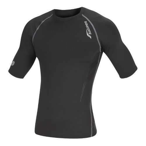 Mens Saucony Amp Pro Short Sleeve Technical Tops - Black M