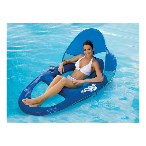 SwimWays Spring Float Recliner Canopy Fitness Equipment - Blue