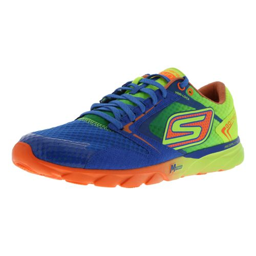 Mens Skechers GO Speed Runner Racing Shoe - Blue/Lime 9.5