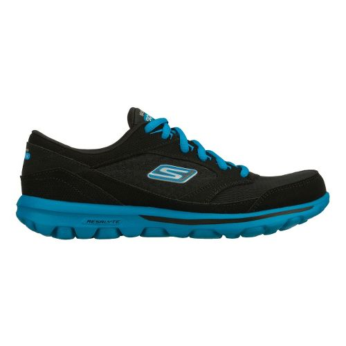 Womens Skechers GO Walk - Baby Walking Shoe - Black/Turquoise 6.5