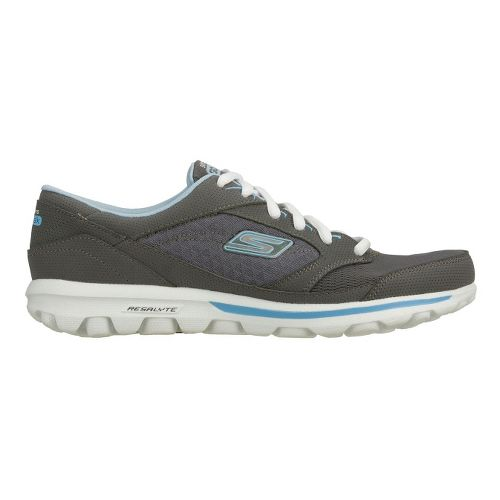 Womens Skechers GO Walk - Baby Walking Shoe - Charcoal/Blue 5
